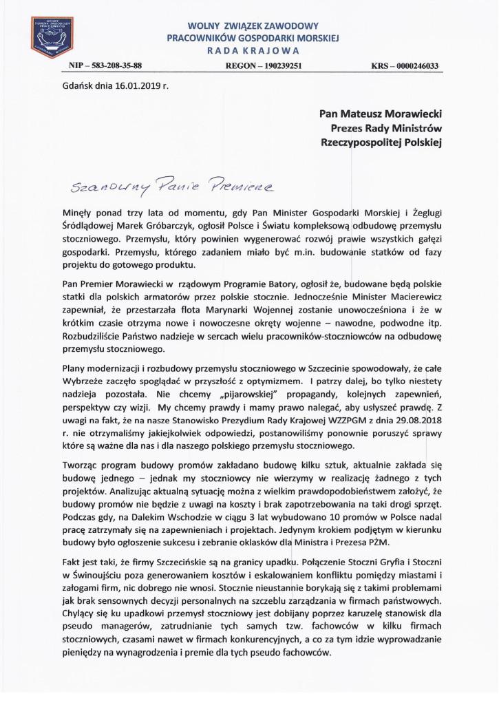 Pismo do Premiera Morawieckiego w sprawie przemysłu stoczniowego-1